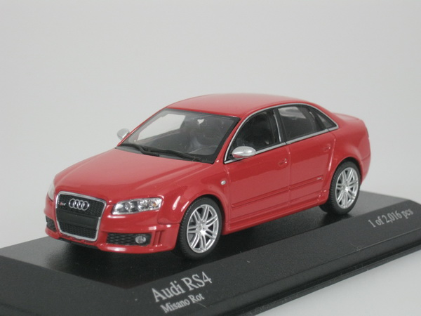 audi rs 4 rs4 sedan 2005 rouge misano m tallique 1 43 minichamps 400014600 neuf ebay. Black Bedroom Furniture Sets. Home Design Ideas